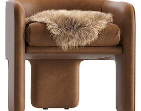3D Milo baughman leather armchair