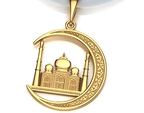 3D printable model Pendant Mosque and Crescent 2