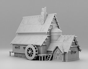 A house with a water wheel 3D print model