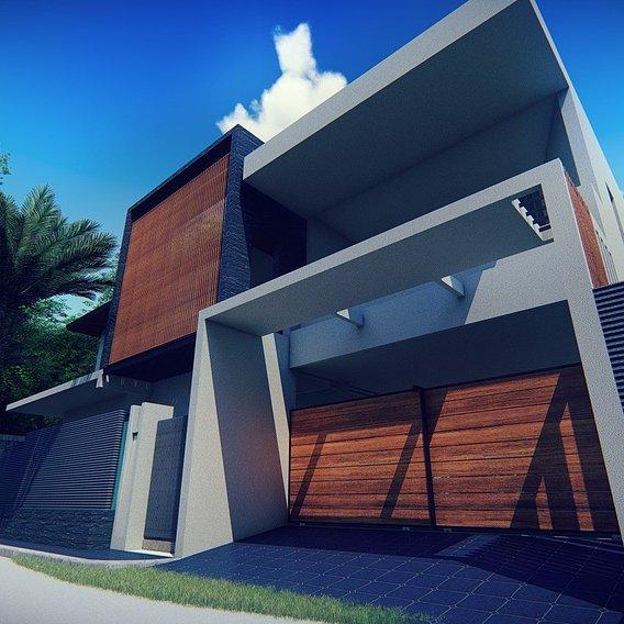 rendering of a villa facade