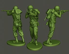 American soldier ww2 shooting A5 3D print model