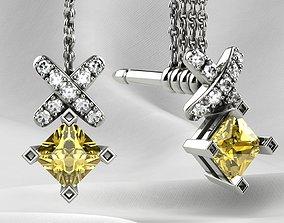 Little Princess Stud Gold Earrings 3D print model