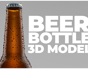Beer Bottle with water drops 3D model