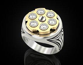 golden 3D printable model Drum revolver ring