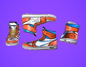 3D model Sneakers nike jordan 1 Goku anime game ready pbr