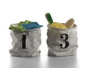 Bathroom Accessories in Bags napkin 3D