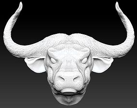 3D printable model horned bull head