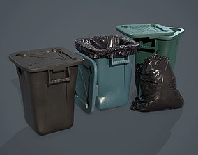 Trash Bag and Containers 3D model