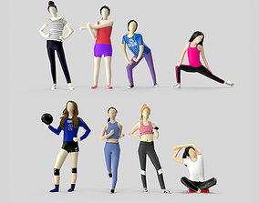 Low Poly Sporty Girls 3D asset realtime