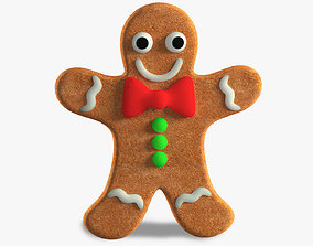 3D model low-poly Gingerbread Man