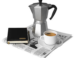 3D model Coffee and Newspaper