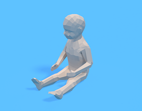 3D model Low Poly Baby Sitting On The Floor