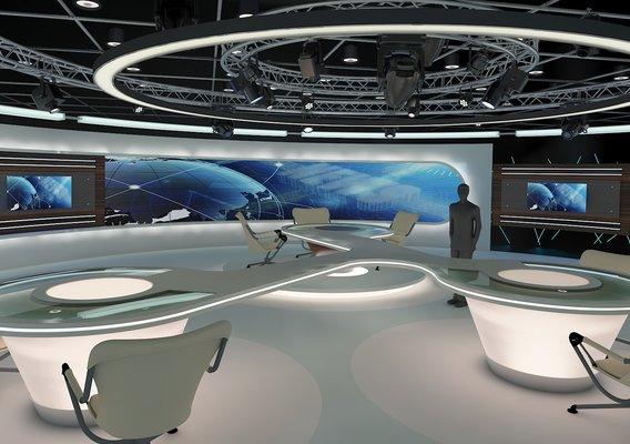 Virtual TV Studio News Set 28. 3d Rendering.