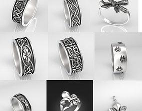 3D printable model Set of silver rings