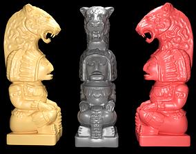 Mayan statue with jaguar head stl 3D print model