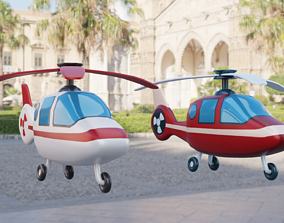Cartoon Helicopter 3D model low-poly