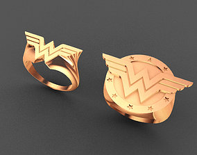 3D printable model 4 Rings of Wonder Woman logos