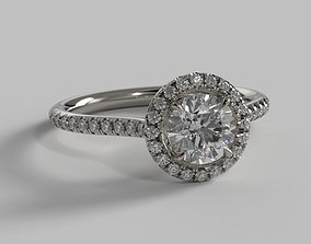 3D printable model 1ct Round Halo - Micro Pave Engagement