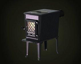 Black Functional Metal Wood Fireplace 3D