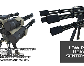 Low Poly Heavy Sentry Gun 3D model