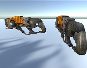 sci fi blaster gun 3d low poly model low-poly