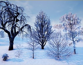 Winter Trees with Snow 3D