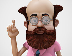 Cartoony Professor Rigged 3D