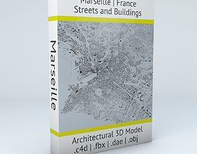 3D model buildings Marseille Streets and Buildings