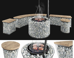Gabion fireplace benches 3D