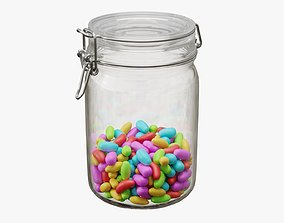 Jar with jelly beans 01 3D model