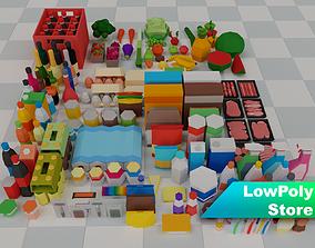 3D model Low Poly Supermarket Set