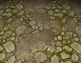 3D ground stone grass tile 07