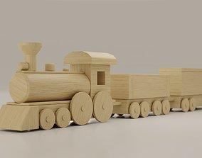 3D asset Wooden Train Toy