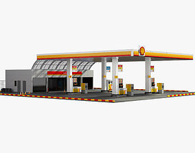 3D model Shell Gas Station urban
