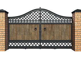 Fence with gate and wicket 3D model