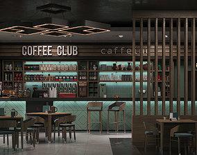 3D model Coffee shop interior scene