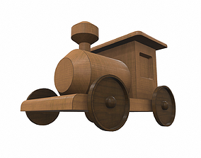 Free wooden train toy 3D model