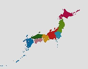 Japan 3D Map with regions VR / AR ready