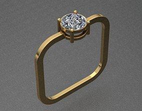 Square Shaped Diamond Ring 3D printable model