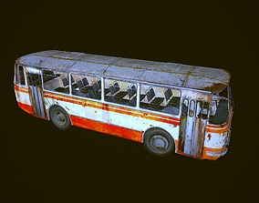 game-ready Old rusty city bus LAZ 695 low-polygon 3D