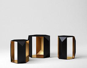 Set of Side Tables Geometric Metal Table 3D asset
