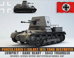 3D model Low Poly SdKfz 101 PanzerJager I Tank