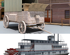 Western Town and Steam Boat 3D