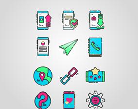 3D Social Media and Web Icons Emoji