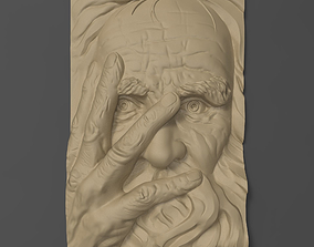 3D printable model Old man face Bas relief for