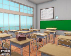 3D model Japan classroom - interior and props