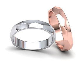 Hammered Wedding band ring 3d model