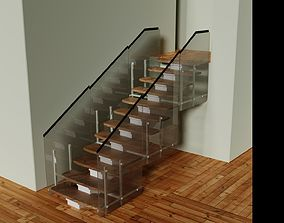 Stairs with Glass 3D model