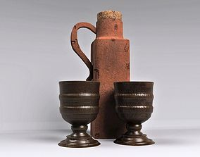 3D model Antique Terracotta Whisky Jar with two cups
