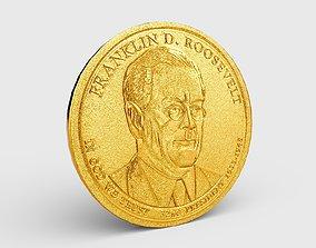 3D asset game-ready PBR Gold Coin - President Roosevelt